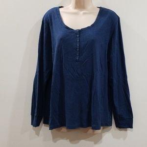 Laura Scott blue 100% cotton long sleeved blouse